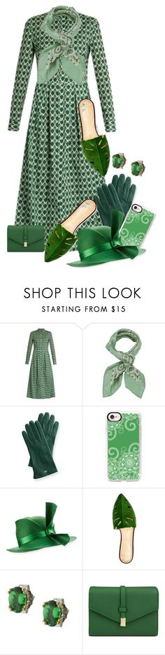 """Green Pointed Toe Mules"" by jakenpink ❤ liked on Polyvore featuring Stella Jean, Manipuri, Mark & Graham, Casetify, Philip Treacy, Charlotte Olympia and Mundi"