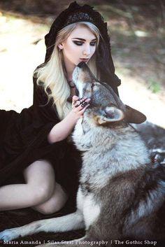 Woman, Girl, Dog, Wolf, Fantasy,