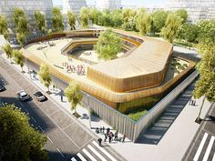Architectural visualization of an elementary school in Bordeaux, France. Designed by RCR arquitectes + Artotec