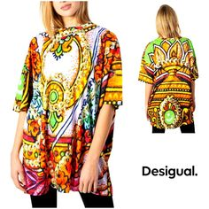 Oversized T-shirt multicolored Table Sizes, T Shirts For Women, Clothes For Women, Kimono Top, Spring Summer, Clothing, Pattern, Sleeves, Cotton