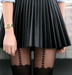 Very plated skirt + Heart suspender tights