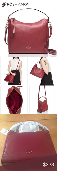 NWT Kate Spade Charles Street in Train Car Red Brand new, in packaging, gorgeous deep red pebble leather Kate Spade. Bag can be worn crossbody or not, strap is detachable. Full details in last picture. Kate Spade Bags Crossbody Bags