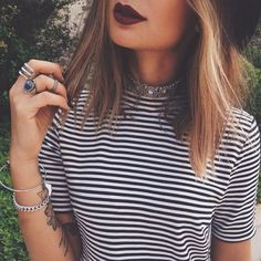 stripes + dark lips