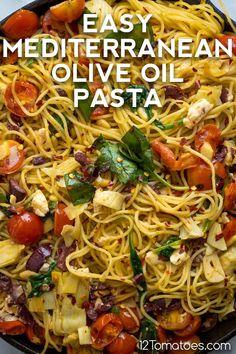 Easy Mediterranean Diet Recipes, Mediterranean Pasta, Greek Recipes, Italian Recipes, Cooking Recipes, Healthy Recipes, Best Pasta Recipes, Pasta Dinner Recipes, Healthy Foods
