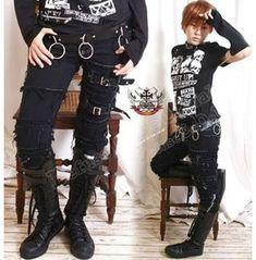 Punk Emo Skinny Fray Buckle Stretch Black Denim Jeans