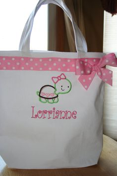 Boutique Custom Made Personalized Tote Bag for Girls. $25.00, via Etsy.