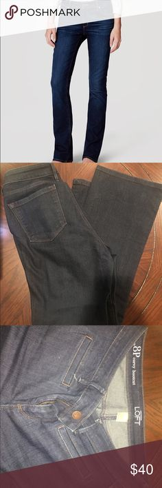 Anne Taylor loft boot cut curvy jeans Sold out on Anne Taylor loft website. Pure dark indigo. Stretch at hips and thighs for the curvy cut. Slit pockets on front are not stitched down. Barely worn. Perfect condition. Ann Taylor Loft Jeans Boot Cut