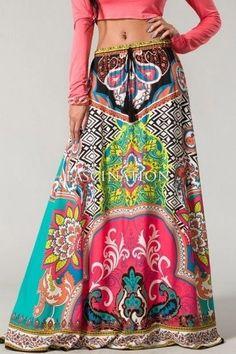 Flying Tomato Bohemian Maxi Skirt Vintage 70's Moroccan Print Hippie Gypsy $79 | eBay