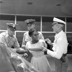 In June 1961 Interfaith Freedom Riders challenged segregated interstate buses by traveling from Washington, D.C. to Tallahassee, Florida. After successfully completing the Freedom Ride they had planned to fly home but first decided to test whether or not the group would be served in the segregated airport restaurant. As a result 10 Freedom Riders, later known as the Tallahassee Ten, were arrested for unlawful assembly [Priscilla Stephens, Jeff Poland, and another black activist waiting…
