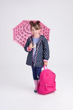 269f36eab129 Dots and Rainbows Microfiber Rain Jacket by Hatley Matching umbrella and  rain boots also available