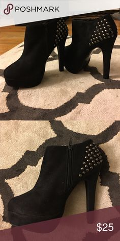 Studded Ankle booties Black booties with metal colored studs. 4-5 inch heel. Material is suede Forever 21 Shoes Ankle Boots & Booties