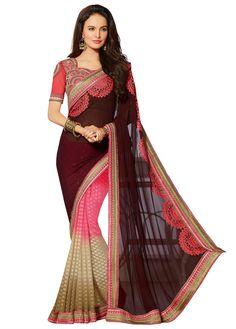 Georgette & Jacquard Thread & Border Work Multicolour Half & Half Saree - 2301 at Rs 4466