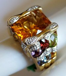 "Bellarri ""Cleo"" 18K Yellow Gold, Citrine & Multi-Gemstone Ring"