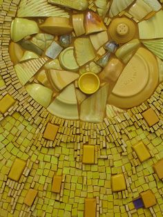 "'Explosion in Yellow' from her ""Mazel tov"" series by Kim Emerson Mosaics. Mexican smalti, Eco-smalti, broken vintage pottery & Bauer Ware. 18 x 36 x 2 in. via the artist's site"