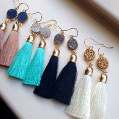 Gold Tassel Earrings Drusy Jewelry Drusy Earrings - Fringe Druzy Earrings - Christmas Gift Tassel Statement Jewelry - Gold Fringe Jewelry  All of the tassel/druzy earrings are made with high quality 14k gold filled earwires, which are great for sensitive skin. Choose color at checkout. Want a different tassel on a particular colored druzy? I can definitely customize. :)  These measure approximately 3.25.  Earrings arrives in a giftbox. *Can be made in silver.  **Druzy is made of natural ...