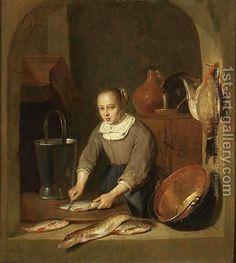 A Maid Scaling Fish Seen Through A Window By Quiringh Gerritsz. van Brekelenkam