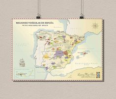 Spain Wine Region Map - Vintage Wine Poster Retro Food Drinks Wall Art Wall Decor Spain Map Kitchen Decor Wine Art BUY 3 GET 1 FREE