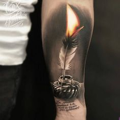 """9,035 Likes, 39 Comments - TattooLoversShop (@tattooloversshop) on Instagram: """"Check out this amazing #Tattoo by #tattooartist @cox_tattoo #fire #feather #feathertattoo…"""""""