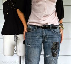 Sequin Skull, Distressed Jeans: DIY.