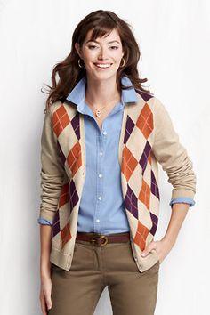 Women's Long Sleeve Fine Gauge Cotton Argyle V-neck Cardigan from Lands' End