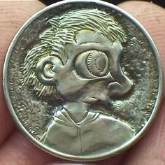 JOHN SCHIPP HOBO NICKEL - FIRST HOBO NICKEL CARVING - SCHMADDY - NO DATE JEFFERSON Hobo Nickel, Coin Art, Coins, Carving, Buffalo, Artist, Money, Rooms, Silver