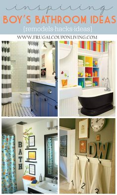 Boy's Bathroom Ideas. Inspiring Kids Bathrooms - Decorations, Remodels and Hacks on Frugal Coupon Living. Bathroom DIY. Bathroom Tips. Bathroom remodels.