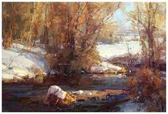 Meandering--Kathryn Stats winter landscape painting