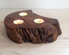 Dark tealight holder, candle holder, Scottish elm wood, triple, unique, wooden, handmade, natural, tea light, interesting, gift (item 171)