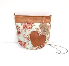 Leather and cotton handbag Sewing Leather, Lambskin Leather, Fabric Material, Flower Prints, Hand Weaving, Coin Purse, Pouch, Shoulder Bag, Purses