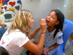 Sreyka Smile issued fluorite treatments to the children to strengthen their teeth.