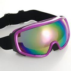 2a137fcde3 Amazon.com   Purple Frame Rainbow Lens Adjustable Elastic Strap Padded  Padding Frost Free Women UV Goggles For Outdoor Biking Trekking Hiking  Skiing ...