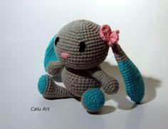 """Calu Art: Króliczek """"Weronika"""" Crocheting, Crochet, Knits, Lace Knitting, Quilts, Chrochet, Knitting Stitches, Knitting Projects, Ganchillo"""