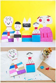 Kid-Made Cardboard Dolls Inspired by Artist Alexander Girard.