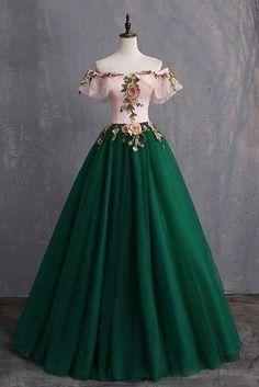 Cheap Prom Dresses, Ball Dresses, Puffy Dresses, Green Prom Dresses, Evening Dresses, Green Gown, Royal Dresses, Designer Prom Dresses, Chiffon Dresses