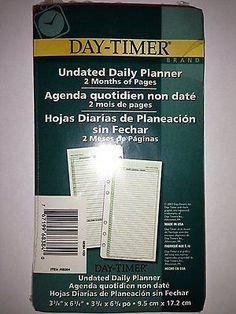 Day-Timer Undated Daily Planner 2 Months of Pages