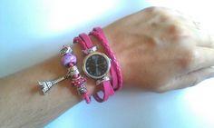 Bijoux whatch purple beads Eiffel Tower fashion paris pretty shine handmade colour