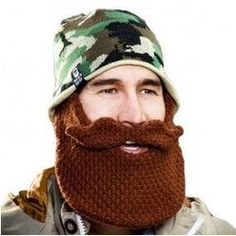 Camo Hat with Crochet Brown Beard