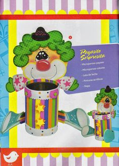 Revistas de manualidades Gratis: Manualidades en foamy paso a paso Clown Party, Circus Clown, Dory, Felt Crafts, Yoshi, Holiday Crafts, Clip Art, Fictional Characters, Party Ideas