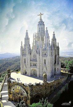 Santuari del Sagrat Cor, Tibidabo, Barcelona, Spain.Places to travel before you die.
