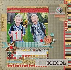 Ginger Williams fancy pants school line School Scrapbook Layouts, Scrapbook Designs, Scrapbook Sketches, Scrapbooking Layouts, Baby Scrapbook, Scrapbook Paper Crafts, Scrapbook Cards, Scrapbook Photos, Paper Crafting