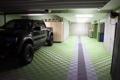 50 Garage Paint Ideas For Men - Masculine Wall Colors And Themes Garage Flooring Options, Flooring On Walls, Flooring Cost, Modern Flooring, Vinyl Flooring, Penny Flooring, White Flooring, Ceramic Flooring, Terrazzo Flooring