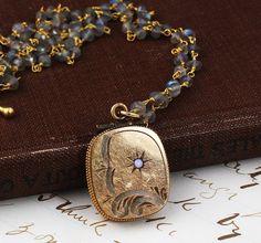 Vintage Locket // Wire Wrapped Gemstone Chain // by RefinedRetro, $19.00