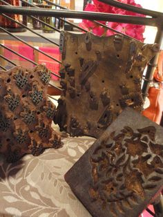 several old wood blocks from India used for printing fabrics