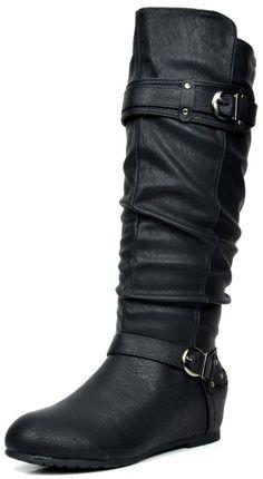 DREAM PAIRS Women's JOIES Black Knee High Low Hidden Wedge Boots Size 8.5 M US