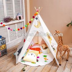 Lovetree Cotton And Canvas Fabric Teepee Kids Tent