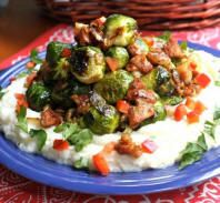 Honey Dijon Brussels Sprouts Over Mashed Cauliflower