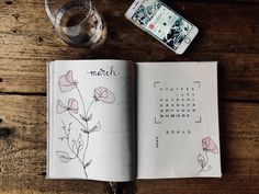 bullet journal inspiration, flowers, month log march