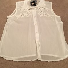 Beautiful White Sheer Blouse NWT Beautiful white sheer sleeveless blouse with cut out appliqués on shirt and collar Living Doll Tops Blouses
