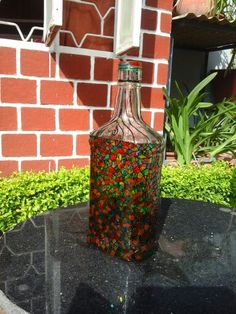 Old bottles call for creativity!  Mosaic glass paint