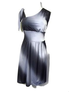 Sexy Plus Size Assymetrical Print One Shoulder Goddess Inspired Sun Dress, Party Dress, Elegant, Black and Grey, Size 16/18